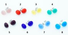 RD17 Серьги-гвоздики Самоцветы  диам. 12 мм 8 цветов муранское стекло