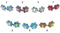 VB17 Серьги Альпийский цветок (диам.1,5 см) 7 цветов муранское стекло