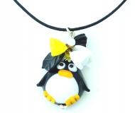 LV29 Подвеска Пингвин с цветами и листиками 5 см муранское стекло