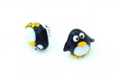 LV29 Серьги-гвоздики мини Пингвин 10 мм муранское стекло