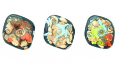 LV81 Подвеска Ретро в форме ромба 3 цвета муранское стекло