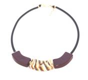 2017-57(3) Колье Верона на каучуке цвет темный аметист-горчичный-слоновая кость