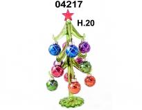 04217 Елка стеклянная с новогодними шарами 20 см