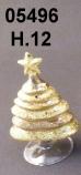 05496 Елка стеклянная цвет золотой 12 см
