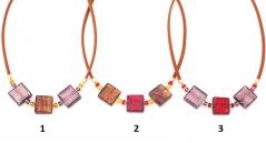 S827(2) Колье Лолита 3 квадрата 20х20 на коже 50+4 см муранское стекло