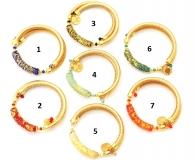 Vac/B9488 Браслет на золотой коже  7 цветов муранское стекло