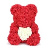 Мишка из роз 40 см красный с белым сердцем