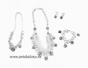 MC7/maz Серьги цвет серебро муранское стекло
