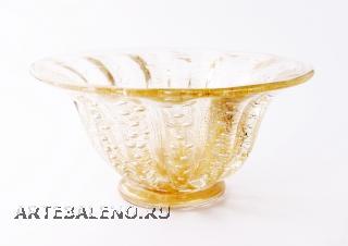 17/GP Кубок с пузырьками прозрачно-золотой с золотой отделкой д.30
