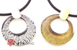 NV31 Подвеска Дрим круглая с золотом или серебром муранское стекло