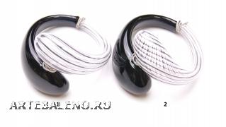 DM06b Браслет с черно-белой филигранью 2 варианта муранское стекло