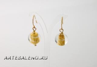 S532/maz Серьги с круглыми бусинами (золото, серебро, бирюза)