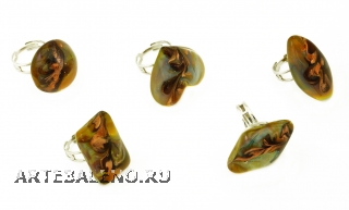 VC08-A Кольцо Кальцедон free-size муранское стекло