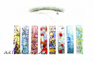 Заколка-автомат 8,5Х1,5см 8 цветов муранское стекло