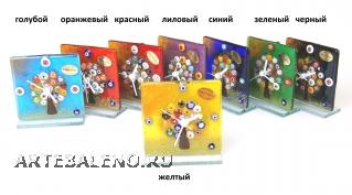 """N5 Часы настольные """"Дерево"""" 9х9см 8 цветов муранское стекло"""