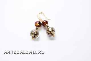 2012-19/maz Серьги золото vintage муранское стекло