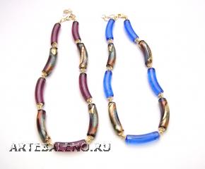 2012-67/maz Колье с бусинами-тубами 2 цвета муранское стекло
