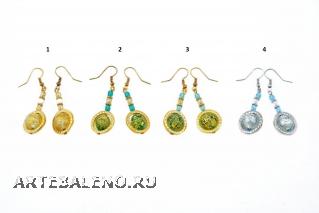 Vac/O8759 Серьги 4 цвета в кольце муранское стекло