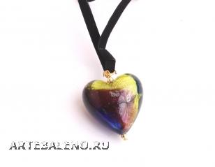 VY523B Подвеска-сердце 3см цветное стекло