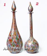 F37 Удлиненные дизайнерские вазы с крышкой, муррины и золото H47см