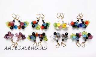 2012-1o/maz (второе фото) Серьги с цветочной композицией муранское стекло