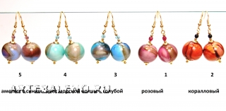 Vac/O9014 Серьги Цветовые метаморфозы 5 цветов муранское стекло