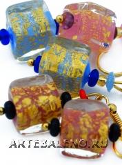Vac/O9037 Серьги-кубики 3 цвета муранское стекло