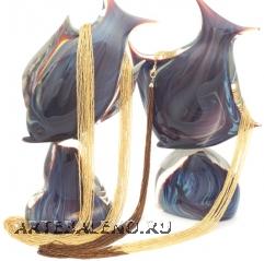 CN60 Бисерное колье длинное 95см 16 нитей цвет золотой и коричнево-золотой