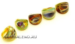 RD09-A Кольцо Кальцедоновые узоры 2,5x2,5cm муранское стекло