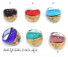 RD12 Кольцо с золотом и авентурином 6 цветов муранское стекло