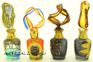 B01 (3) Флакончик Венецианский карнавал  h8-14см серия Винтаж муранское стекло