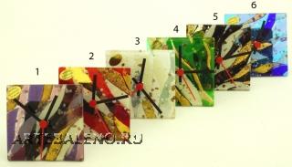 ISV20 Часы настольные 10х10см 6 цветов муранское стекло