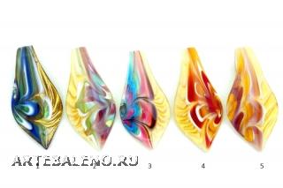 ZN12 Подвеска-листок Орхидея 4х8 см различные цвета муранское стекло