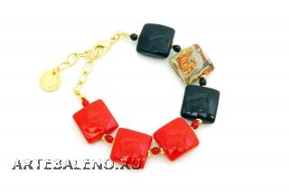 Vac/B9249 Браслет Красное и черное муранское стекло
