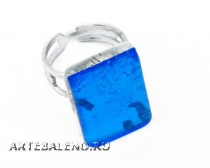 Арт.02 бирюзовый - кольцо 1,5x2 муранское стекло