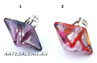 ZN11A Кольцо Джемма ромб 3,5х2,5см 2 цвета муранское стекло