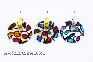 ZN16 Подвеска Миро' размер 4х4,5см 3 цвета муранское стекло