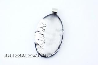 RS31 Подвеска овальная Грани цвет серебро муранское стекло