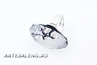 RS31 Кольцо Грани цвет серебро муранское стекло