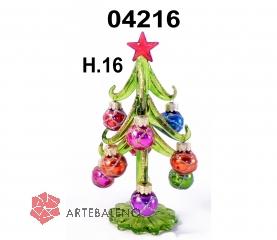 04216 Елка стеклянная с новогодними шарами 16 см