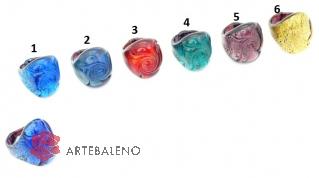 VM0129  Кольцо Роза Азора различные цвета муранское стекло