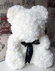 Мишка из роз 25 см  белый