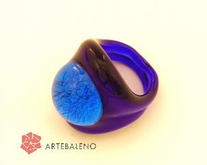 PM04 Кольцо цвет синий муранское стекло