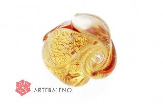 NV/32r Кольцо Роза большое с золотом на красном фоне муранское стекло