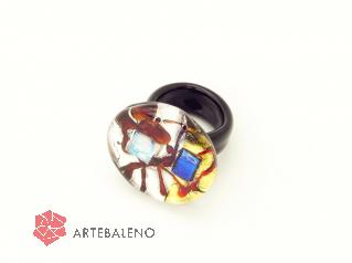 PM113-a Кольцо c дикроико муранское стекло