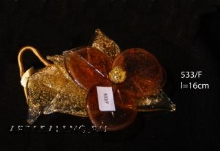 533/F Декор. композиция Цветок двухцветный (дл. 16см) муранское стекло