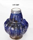 145/GP Ваза с пузырьками синяя с золотой отделкой Н16