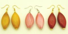 BL08-O Серьги с легкими дутыми бусинами Олива 3 цвета муранское стекло