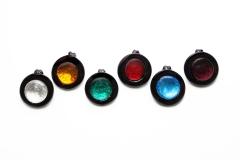 RS01-Pp Подвеска круглая 4см с серебром 6 цветов муранское стекло