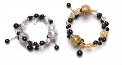 Vac/B7169 Браслет тройной цвет золото и серебро муранское стекло